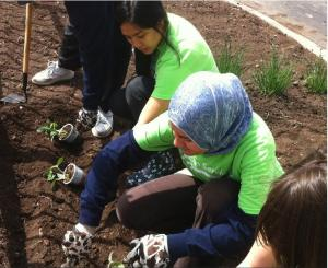 Courtesy of Taj Simmons: DePaul students garden outside of the Zakat Chicago Community Center dur- ing Vincentian Service Day May 4. This is the 13th year the community service event has been held.