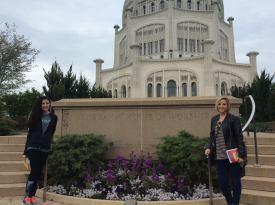 Fellow Interfaith Scholars Shourouk and Nicolette visit the Baha'i Temple in Wilmette, Illinois.